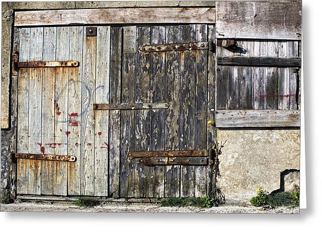 Farm Structure Greeting Cards - Old Wooden Door Of Building Greeting Card by John Short