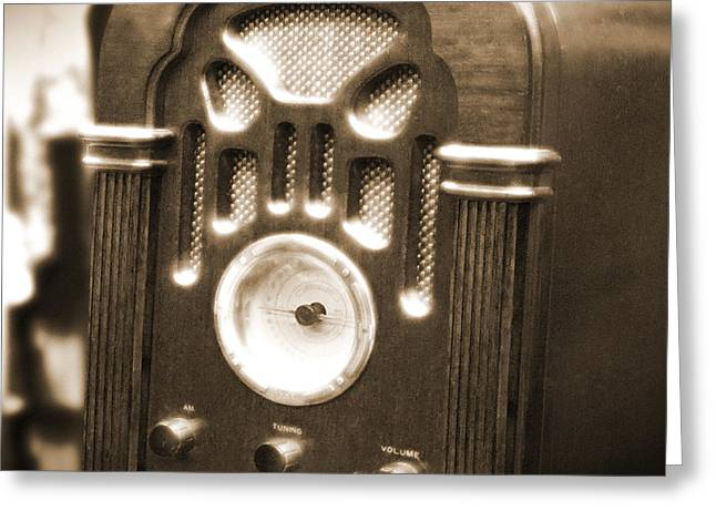 Wooden Greeting Cards - Old Wooden Radio Greeting Card by Mike McGlothlen
