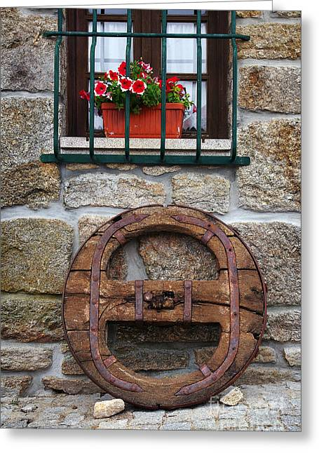 Medieval Style Greeting Cards - Old Wooden Wheel Greeting Card by Carlos Caetano