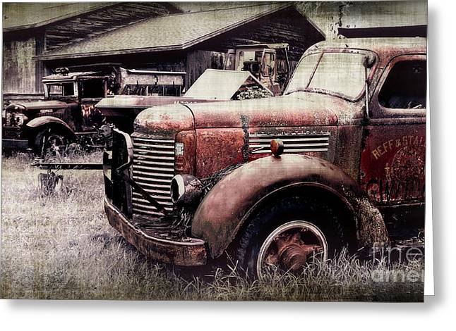 Old Truck Photography Greeting Cards - Old Work Trucks Greeting Card by Perry Webster