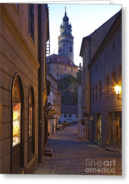 Old World Alley And Castle Greeting Card by David Buffington