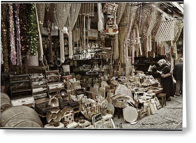 Layer Greeting Cards - Old World Market Greeting Card by Joan Carroll