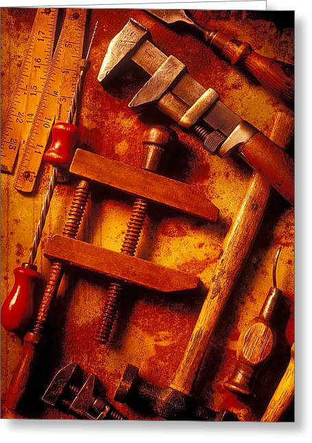 Clamps Greeting Cards - Old Worn Tools Greeting Card by Garry Gay