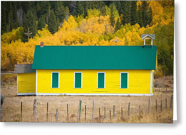 Old Yellow School House With Autumn Colors Greeting Card by James BO  Insogna