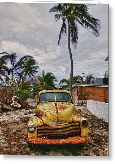 Old Pickup Greeting Cards - Old yellow truck Florida Greeting Card by Garry Gay