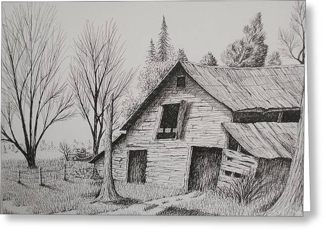 Barn Pen And Ink Drawings Greeting Cards - Olde barn with truck Greeting Card by Chris Shepherd