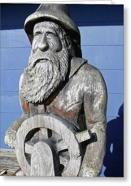 Olde Fisherman Chainsaw Carving Greeting Card by Pamela Patch