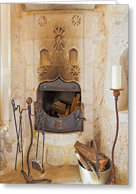 Candle Stand Greeting Cards - Olde Worlde fireplace in a Cave  Greeting Card by Kantilal Patel
