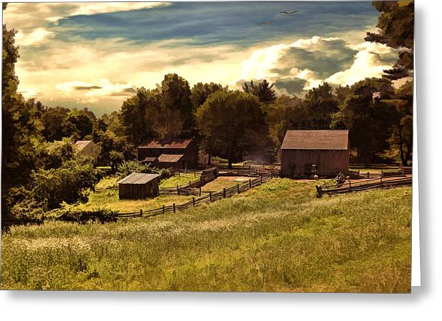 Old Cabins Greeting Cards - Olden Times Greeting Card by Lourry Legarde
