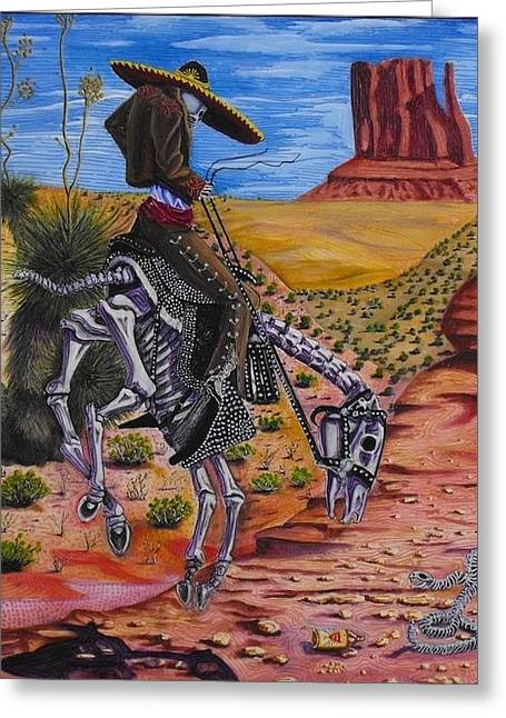 Lone Horse Paintings Greeting Cards - Oldest Trick In the Book Greeting Card by Dan RiiS Grife