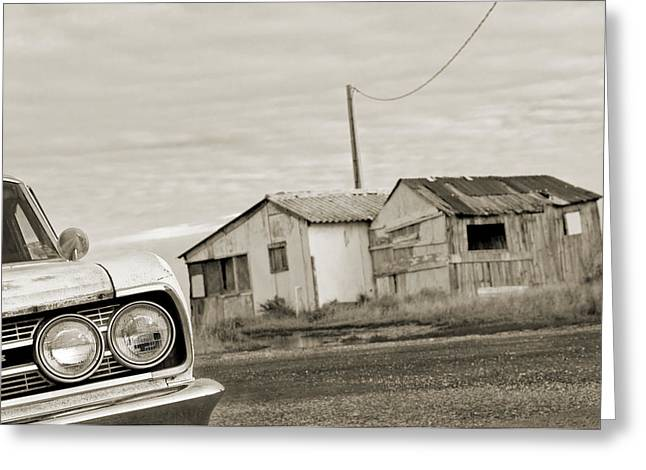 Olds Cutlass 63 Headlights And Huts Bw Greeting Card by Philippe Taka