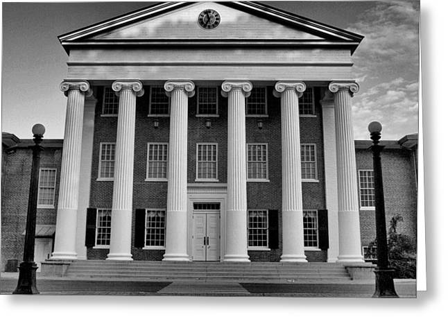 Crosswalk Greeting Cards - Ole Miss Lyceum Black and White Greeting Card by Joshua House