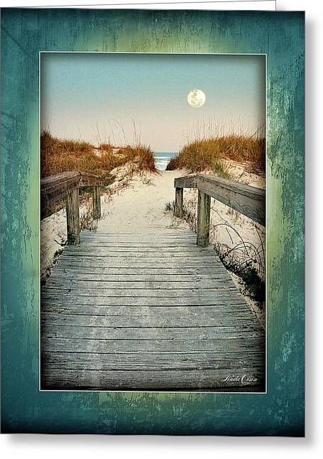 Moon Beach Pyrography Greeting Cards - Oleander Street Walkover Greeting Card by Linda Olsen