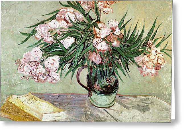 Post-impressionism Greeting Cards - Oleanders and Books Greeting Card by Vincent van Gogh