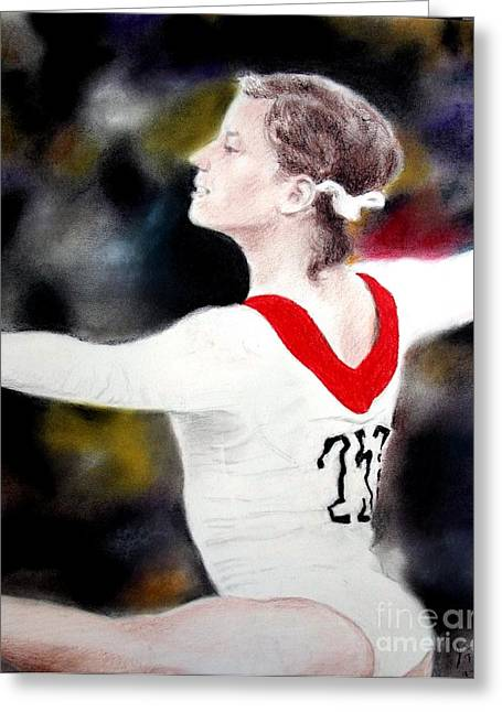 Olympics Drawings Greeting Cards - Olga Korbut Performing at the 1972 Summer Olympics in Munich Greeting Card by Jim Fitzpatrick
