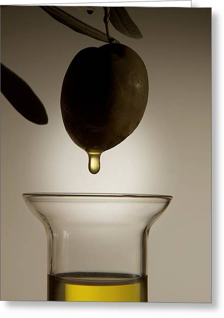 Olive Oil Greeting Cards - Olive And Olive Oil Greeting Card by Sheila Terry