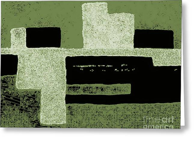 Olive Green Greeting Cards - Olive Green Abstract Greeting Card by Marsha Heiken