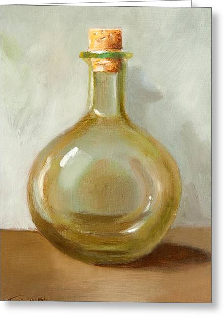 Bottles Greeting Cards - Olive Oil Bottle Still Life  Greeting Card by Joni Dipirro