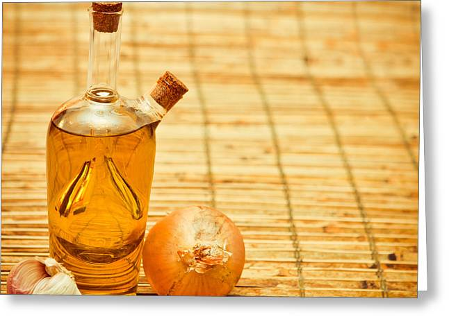 Bulb Greeting Cards - Olive oil Greeting Card by Tom Gowanlock