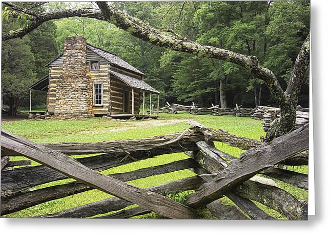 Split Rail Fence Greeting Cards - Oliver Cabin in Cades Cove Greeting Card by Randall Nyhof