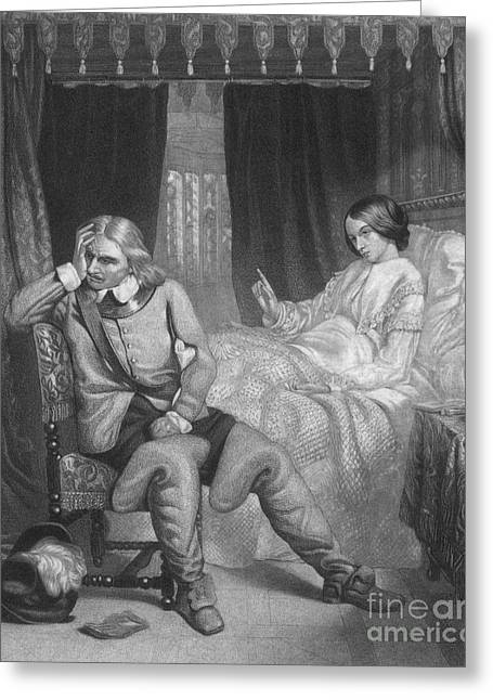 Protectorate Greeting Cards - Oliver Cromwell And His Dying Daughter Greeting Card by Photo Researchers
