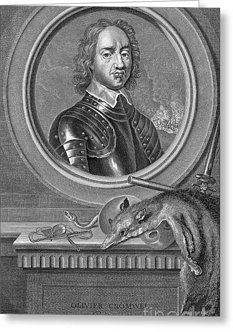 Protectorate Greeting Cards - Oliver Cromwell, English Political Greeting Card by Photo Researchers