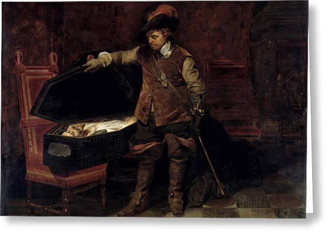 Opening Greeting Cards - Oliver Cromwell Opening the Coffin of Charles I  Greeting Card by Hippolyte Delaroche