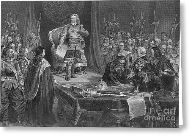 Protectorate Greeting Cards - Oliver Cromwell Refusing The Crown Greeting Card by Photo Researchers