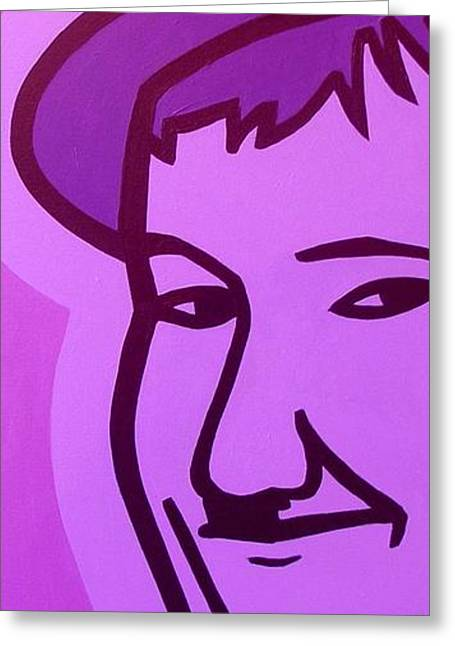 Acrylic Art Greeting Cards - Oliver Hardy  Greeting Card by John  Nolan