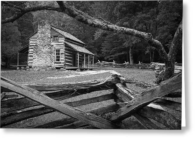 Split Rail Fence Greeting Cards - Olivers Cabin in the Great Smokey Mountains Greeting Card by Randall Nyhof