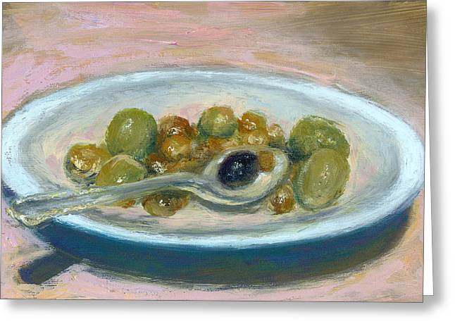 Olive Green Greeting Cards - Olives Greeting Card by Scott Bennett