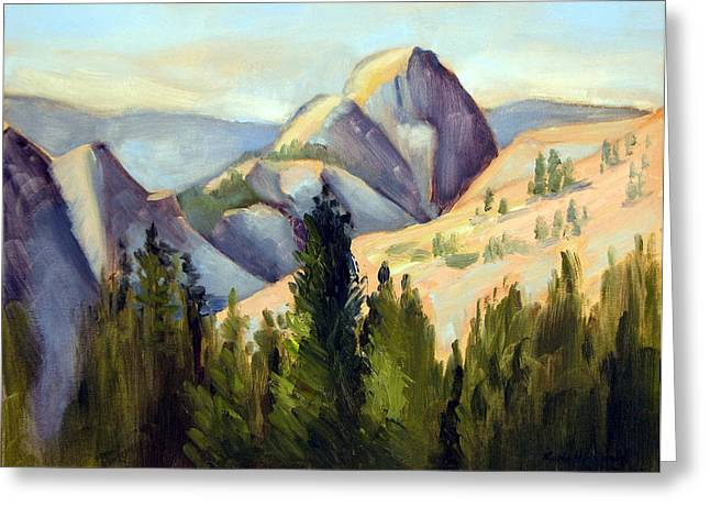 Half Dome Paintings Greeting Cards - Olmstead Point Greeting Card by Karin  Leonard
