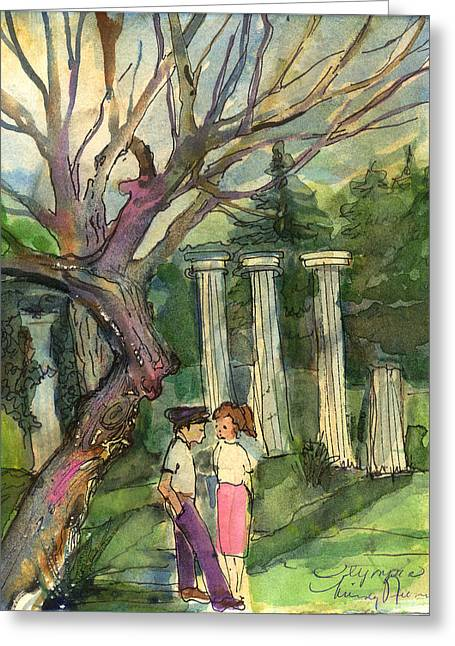 Conversations Drawings Greeting Cards - Olympia Greece Romance Greeting Card by Mindy Newman