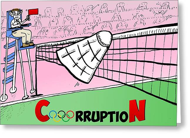 Olympic Corruption Cartoon Greeting Card by Yasha Harari