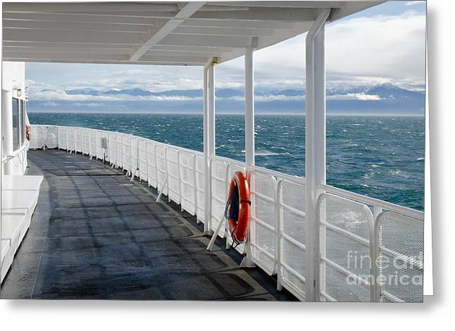 Usa Photographs Greeting Cards - OLYMPIC DECK m v coho deck view of olympic mountains Greeting Card by Andy Smy
