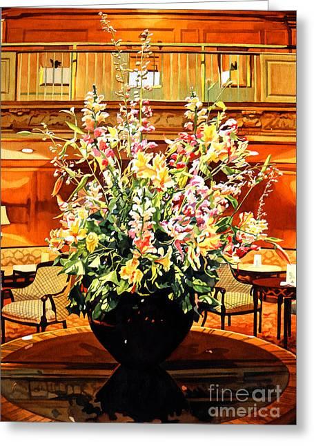 Floral Arrangement Greeting Cards - Olympic Grandeur Greeting Card by David Lloyd Glover