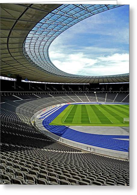 Fussball Greeting Cards - Olympic Stadium - Berlin Greeting Card by Juergen Weiss