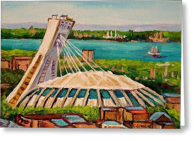 Stadium Scene Paintings Greeting Cards - Olympic Stadium  Montreal Greeting Card by Carole Spandau
