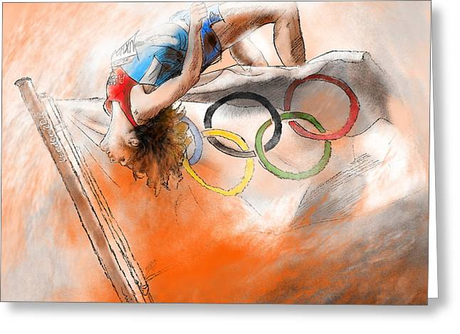 Gold Medals Mixed Media Greeting Cards - Olympics High Jump Gold Medal Ivan Ukhov Greeting Card by Miki De Goodaboom