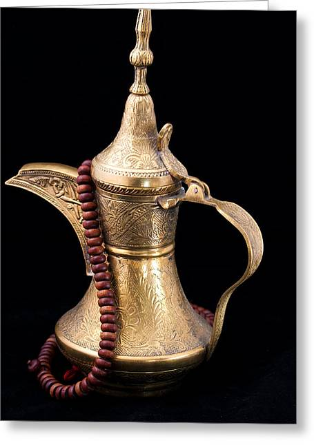 Ornate Pattern Greeting Cards - Omani Coffee Greeting Card by Tom Gowanlock