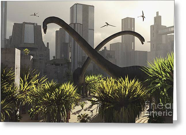 Paleozoology Greeting Cards - Omeisaurus Sauropods Explore Greeting Card by Mark Stevenson