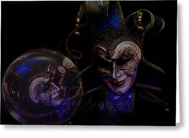 Jester Mixed Media Greeting Cards - Omen Greeting Card by Veronica Ventress