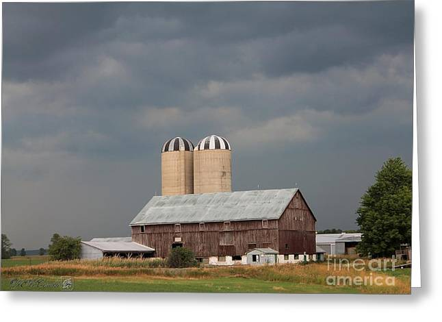 Ominous Clouds Over the Barn Greeting Card by J McCombie
