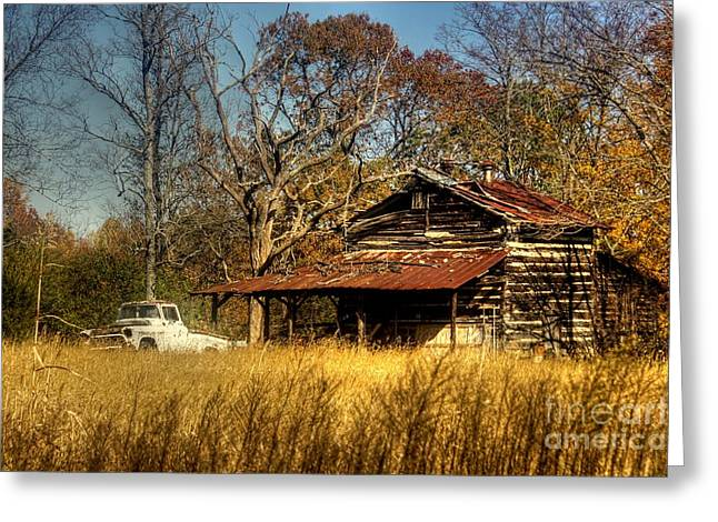 Tobacco Barns Greeting Cards - On a Back Road Greeting Card by Benanne Stiens