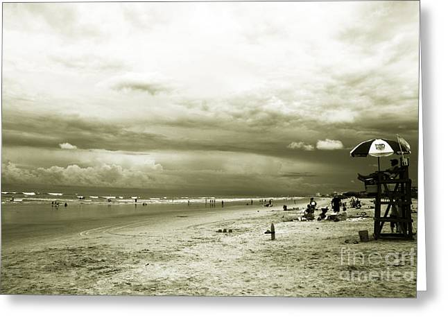 Abstract Beach Landscape Greeting Cards - On a cloudy day Greeting Card by Susanne Van Hulst
