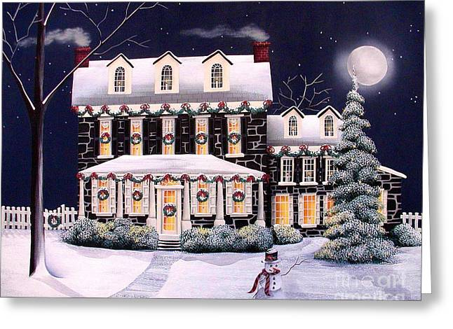 Catherine Greeting Cards - On A Cold Winter Evening Greeting Card by Catherine Holman