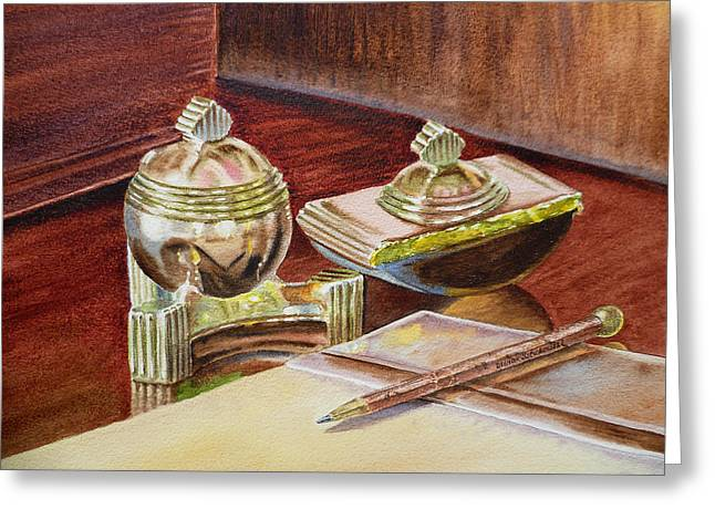 Desk Paintings Greeting Cards - On A Desk at Eugene O Neill Tao House Greeting Card by Irina Sztukowski