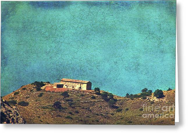 Stone House Mixed Media Greeting Cards - On a high rock Greeting Card by Angela Doelling AD DESIGN Photo and PhotoArt