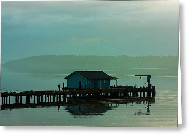 Framed Whidbey Prints Greeting Cards - On A Pier Greeting Card by Marie Jamieson