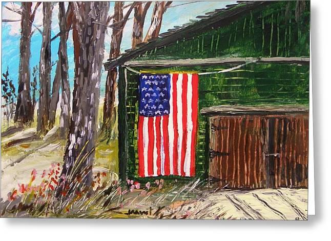 Barn Door Drawings Greeting Cards - On a Veterans Barn Greeting Card by John  Williams
